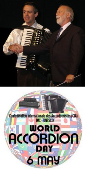 Kevin Friedrich and Gary Daverne, World Accordion Day logo
