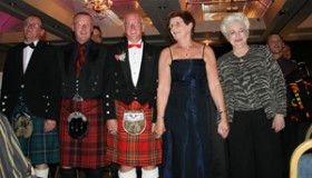 CIA World Accordion Orchestra II conductors Ronnie Brown (UK), Brian Laurie (Scotland), Graham Laurie (Scotland), Elaine Beecham (UK) and Joan Sommers (USA)