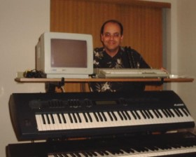 Joe Natoli using his MIDI studio at home